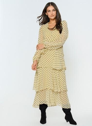 Loves You Katlı Puantiyeli Şifon Elbise Somon
